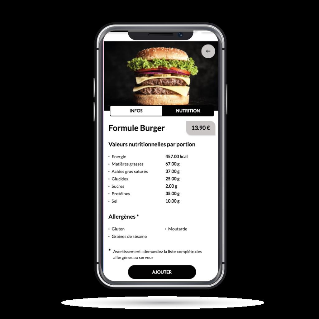 Menu digital AllEatOne - Affichage des valeurs nutritionnelles et allergènes